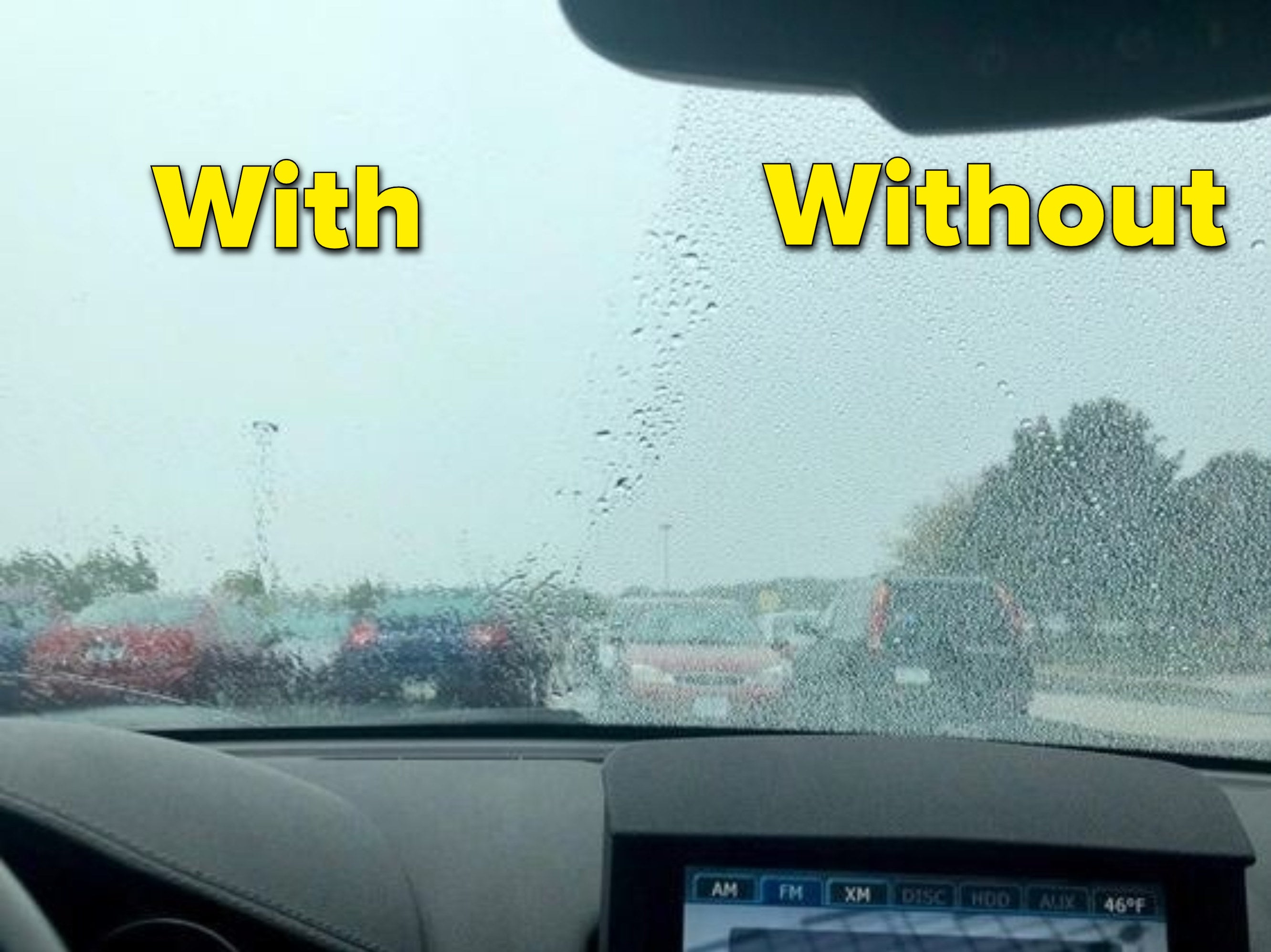 Reviewer's car to show how one half of their windshield is clear, while the other untreated half is covered in raindrops