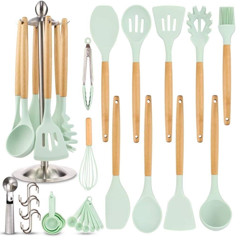 mint green and wood kitchen utensil set