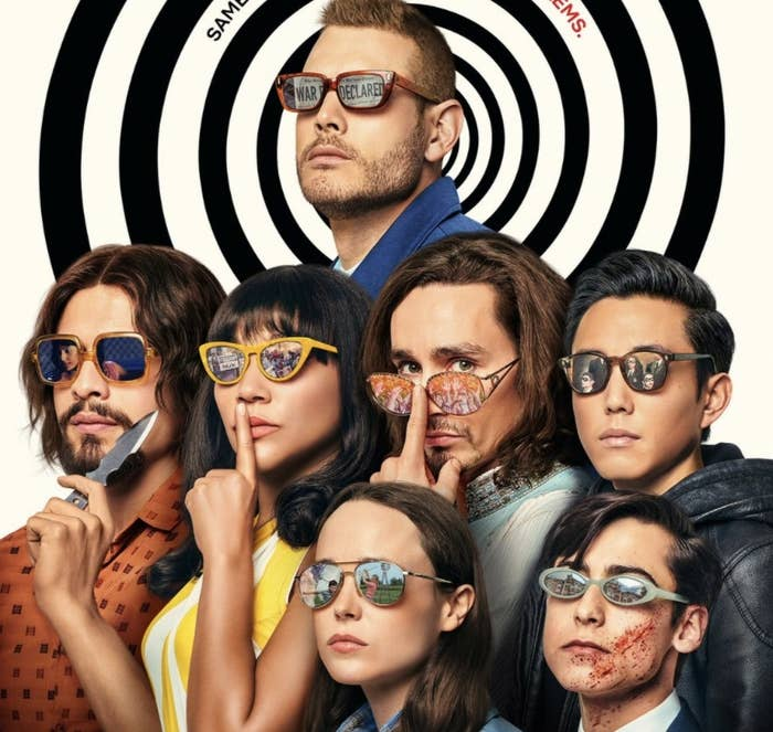 A promotional photo for season two of The Umbrella Academy featuring the main cast wearing sunglasses.