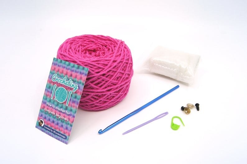 The contents of the Crocheting 101 starter kit
