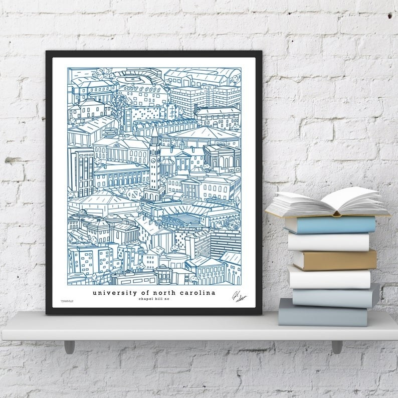 illustrated line drawing of Chapel Hill, NC