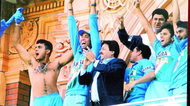 Image of Sourav Ganguly, the former Indian cricket captain, celebrating a win with his teammates.