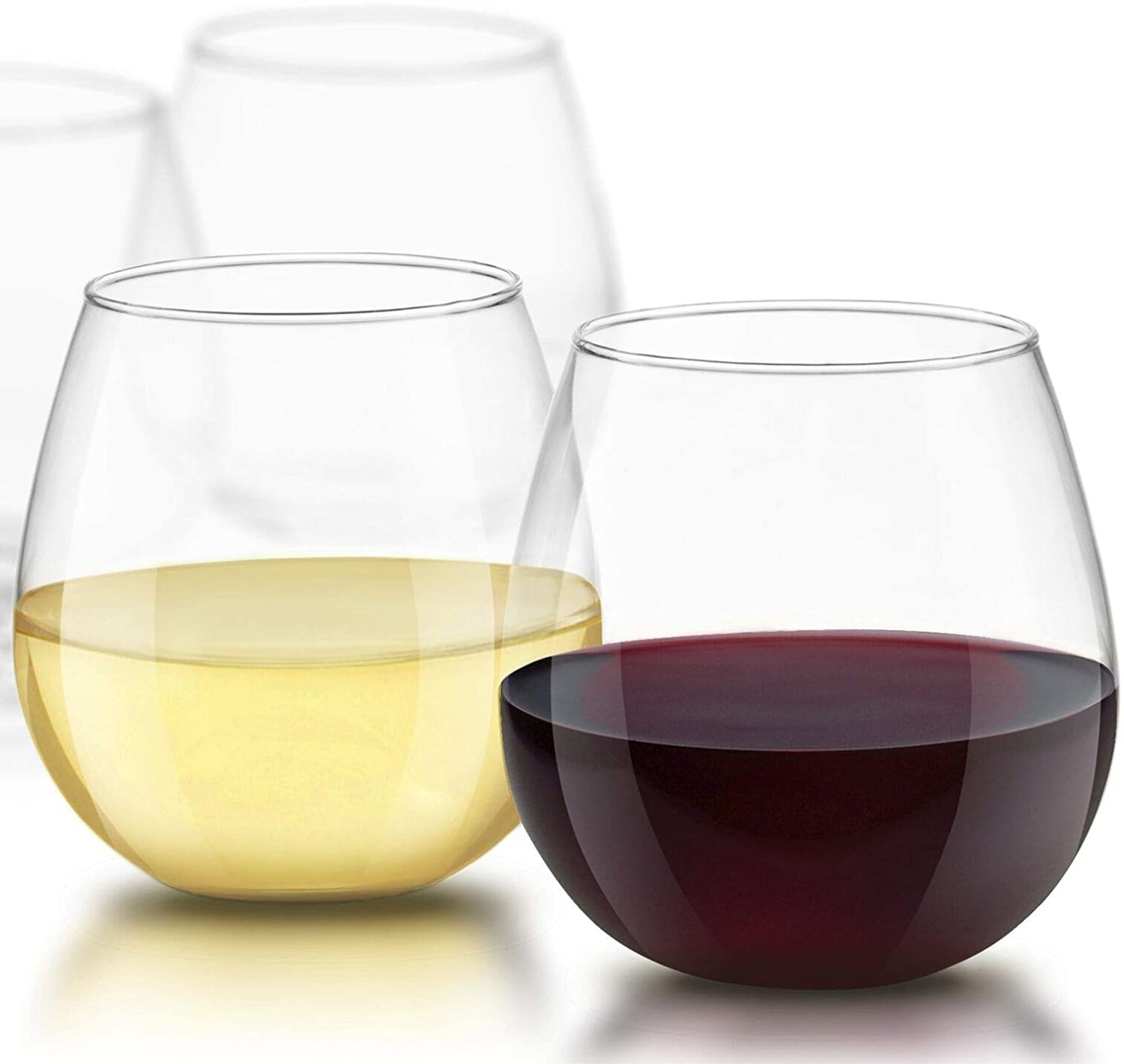 stemless wine glasses with white and red wine in them