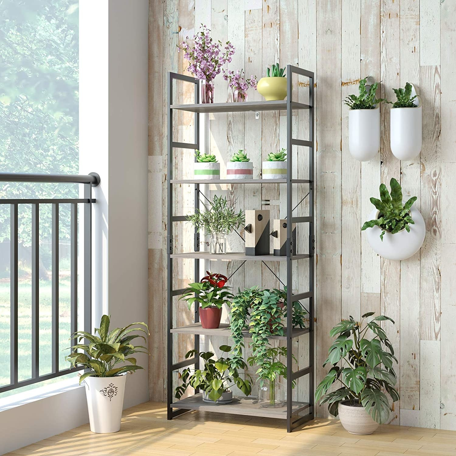 five-tier open bookcase with house plants on it