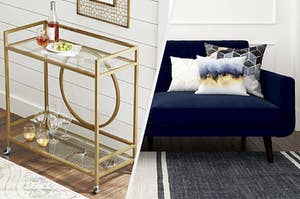 to the left: a gold and glass bar cart, to the left: a blue couch