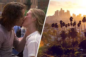 "On the left, Heath Ledger and Julia Stiles kiss as Patrick and Kat in ""10 Things I Hate About You,"" and on the right, the Los Angeles skyline at sunset"