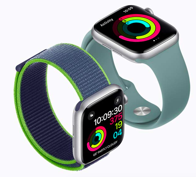A pair of Apple Watches with different colored bands. Both screens are displaying activity for the day.