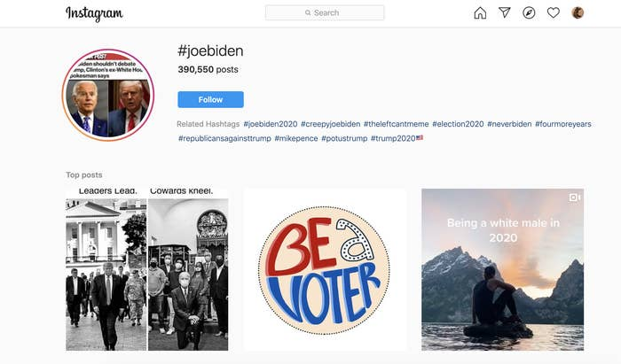 A screenshot from Instagram shows #joebiden surfaces posts with hashtags like #neverbiden, #fourmoreyears, and #trump2020.