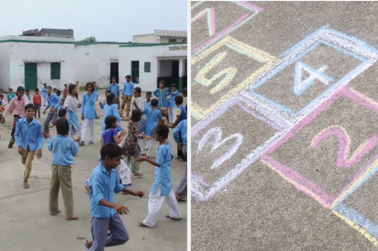 Image of kids in a school playground along with an image of the game of hopscotch.