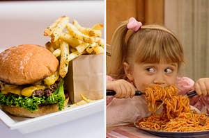 Burger and fries and Mary-Kate eating spaghetti..