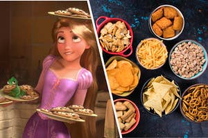 Rapunzel is juggling a plate of cookies in her head while there's a bowl of snacks on the right