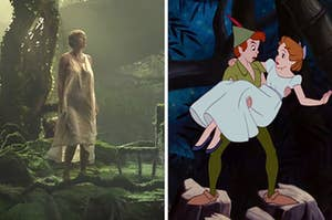"On the left, Taylor Swift stands in a clearing in a forest in the ""Cardigan"" music video, and on the right, Peter Pan holds Wendy in his arms in ""Peter Pan"""