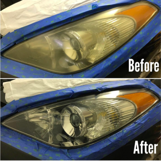 "Above, a very cloudy headlight and the text ""Before."" Below, the same headlight looking super clear with the text ""After."" The reviewer has used blue masking tape around the edges of the headlight as they worked"