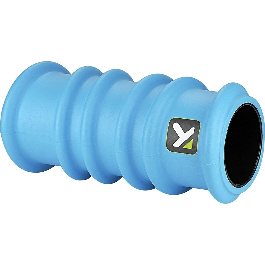 The blue hollow foam roller with ring-like protrusions