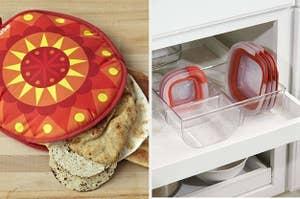 split thumbnail of tortilla warmer, food storage lid organizer
