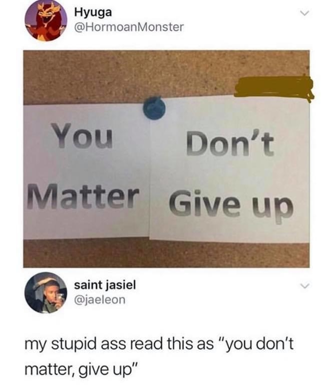 Picture that says you matter don't give up and a response that says my stupid ass read this as you don't matter give up