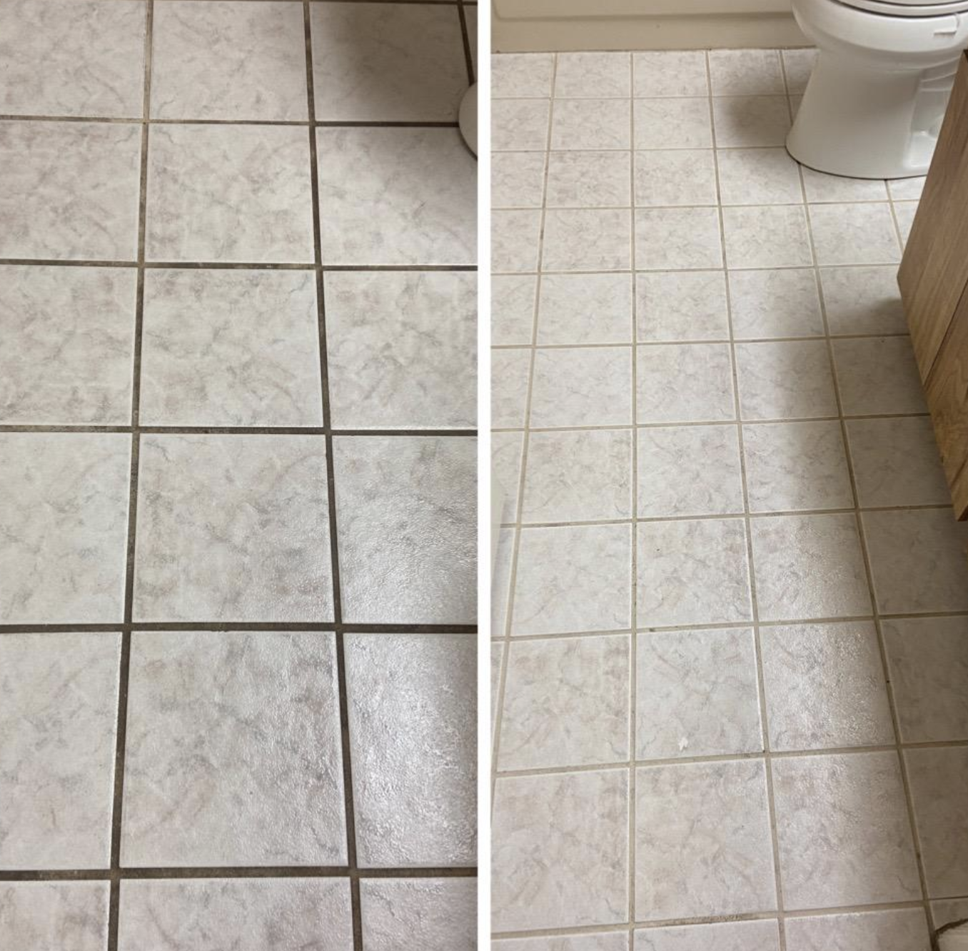Reviewer's before and after showing cleaner, whiter grout after using the cleaner