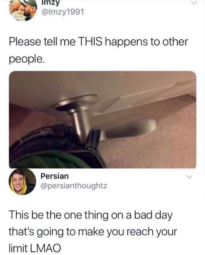 Picture of a belt strap around a door handle with the caption this be the one thing on a bad day that's going to make you reach your limit
