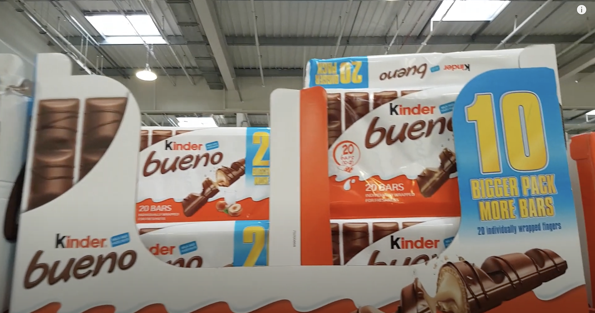Kinder Bueno bars stacked at Costco France.