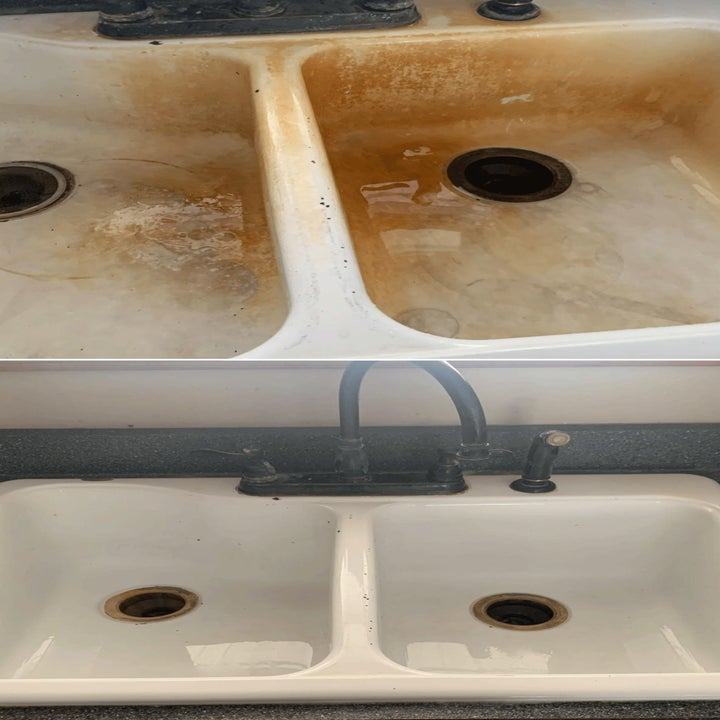 Reviewer's before/after pic of their sink showing how the brush removed deep rust stains
