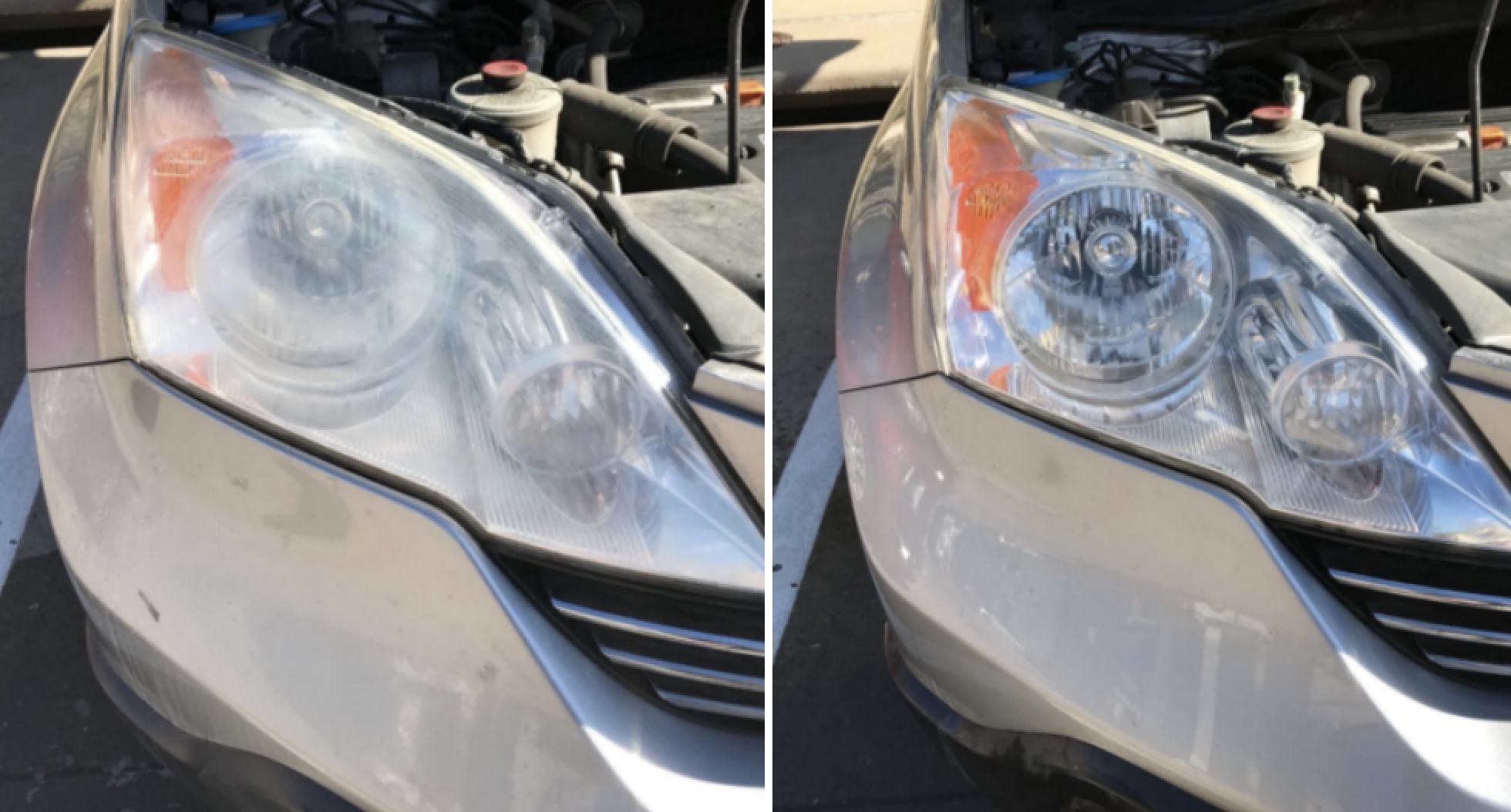 Reviewer's before/after pic of headlights. After pic shows much clearer headlights.