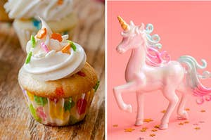 A funfetti cupcake sits on the table on the left with a unicorn on the right