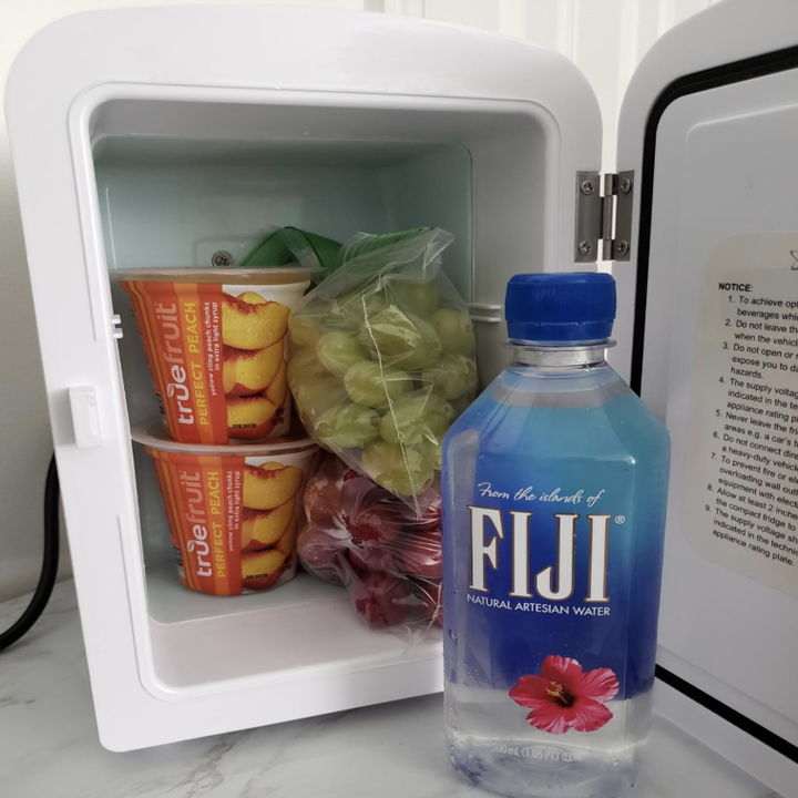 The fridge open to fit two yogurt cups, two Ziplocs of fruit, and a small Fiji water bottle