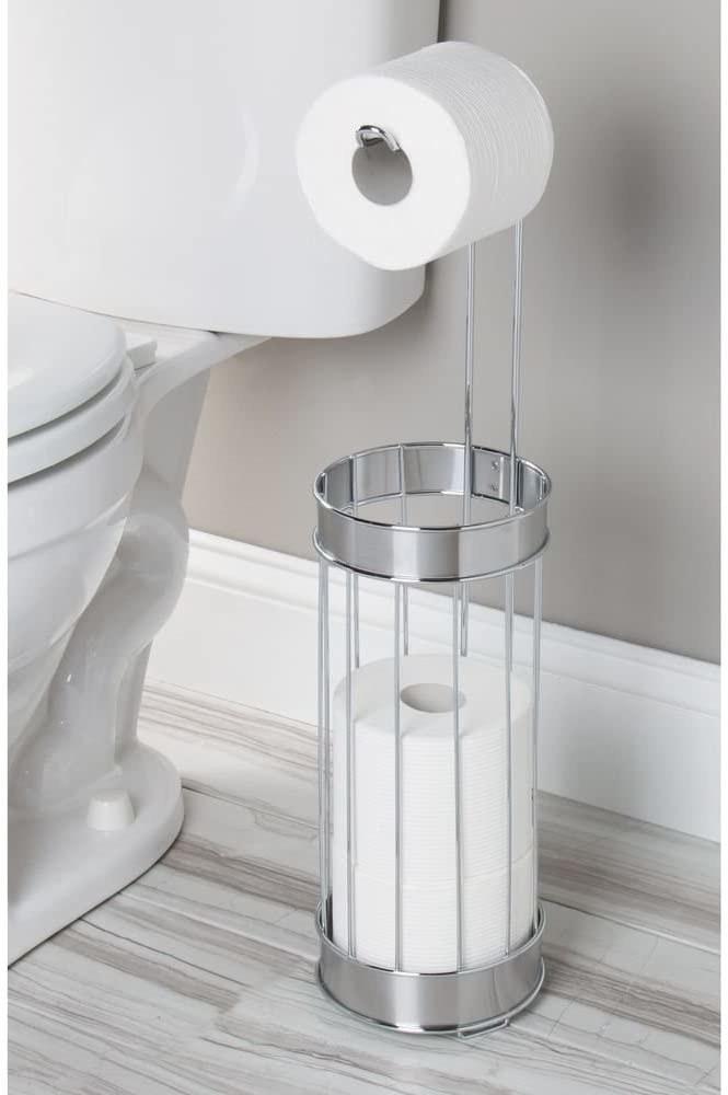 The InterDesign Bruschia free standing toilet paper holder.