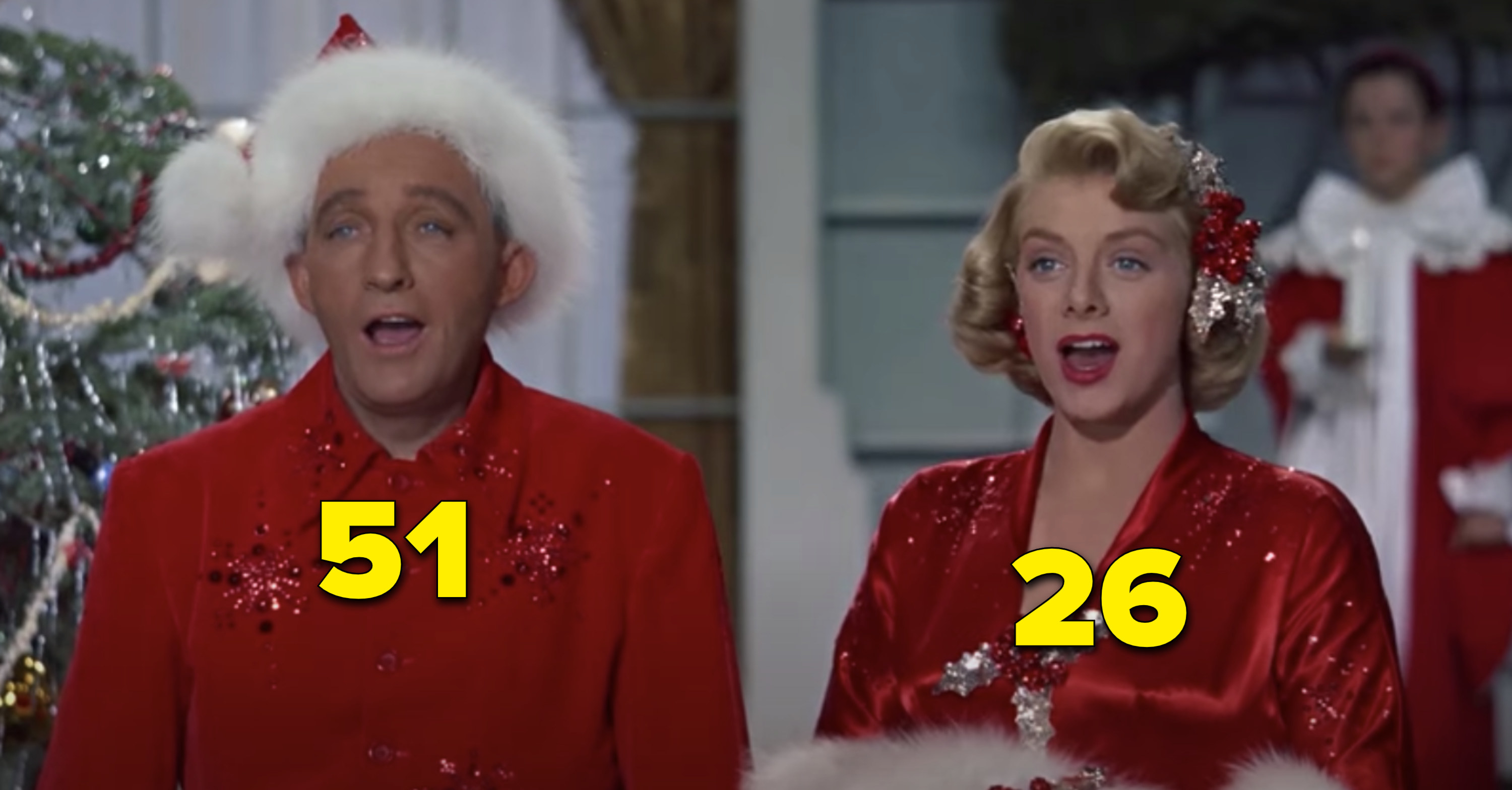 Bing Crosby and Rosemary Clooney singing in White Christmas
