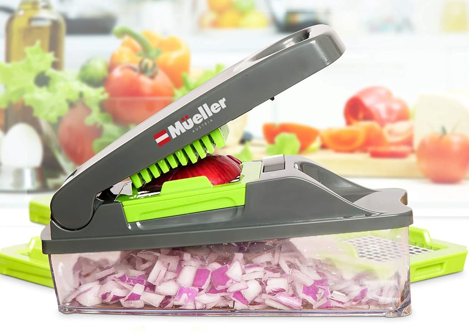 a rectangular chopper in which you place the vegetable in the top and the pieces go into a plastic container underneath