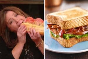 Rachel Ray eating a sandwich and a BLT