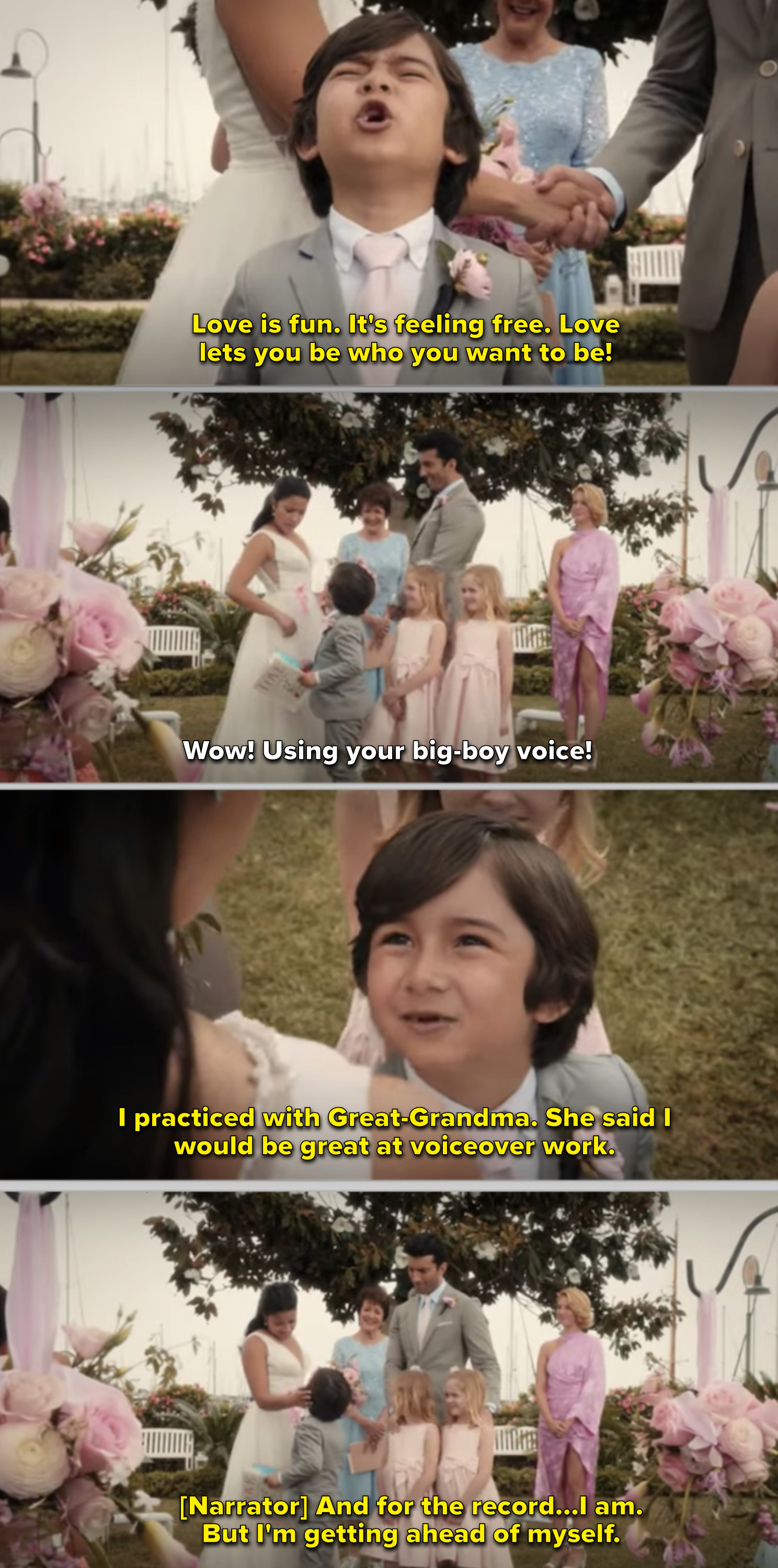 Jane on her wedding day talking to her son