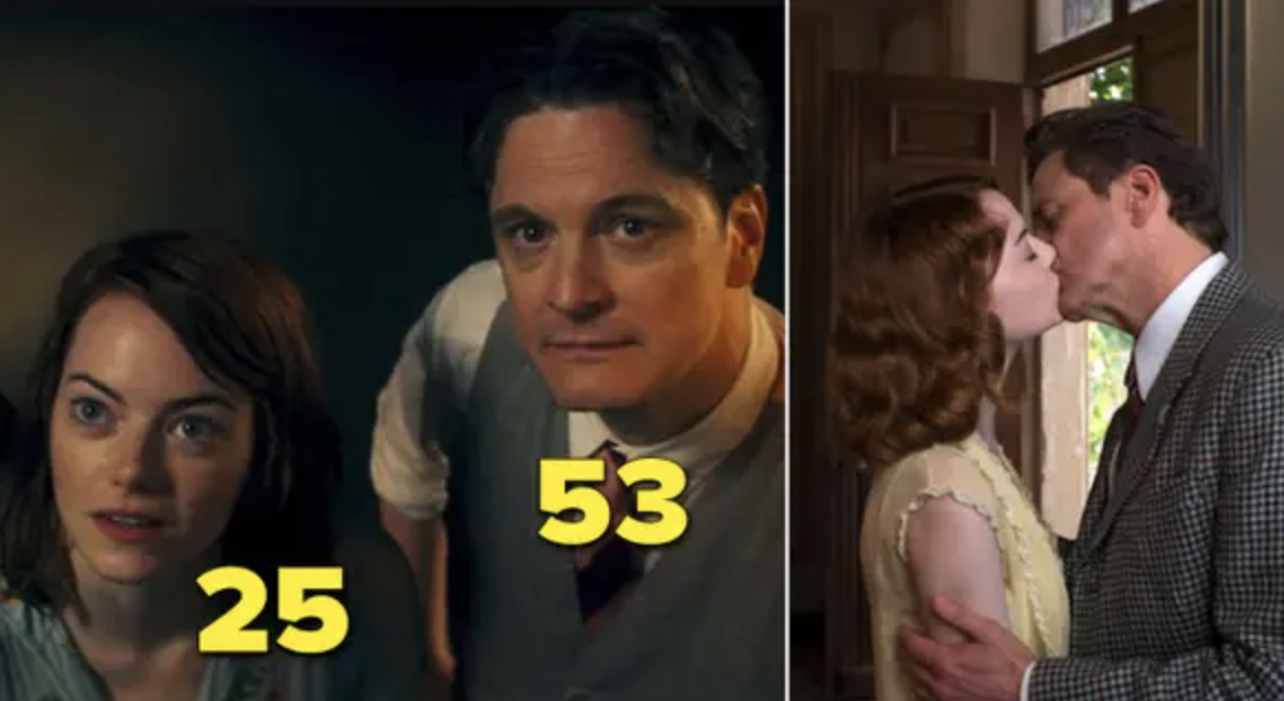 "Emma Stone and Colin Firth kissing in ""Magic in the Moonlight"""