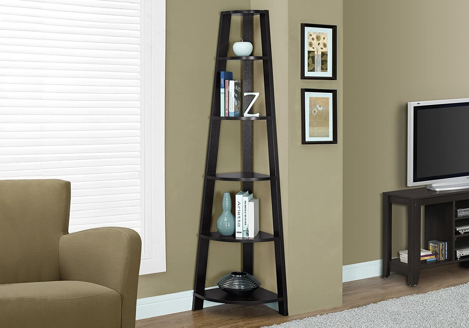 corner shelf with five tiers tucked into a corner in a living room