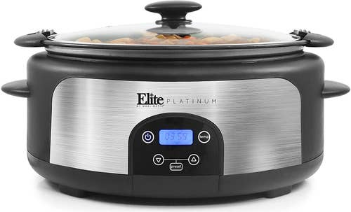 The black and stainless steel cooker