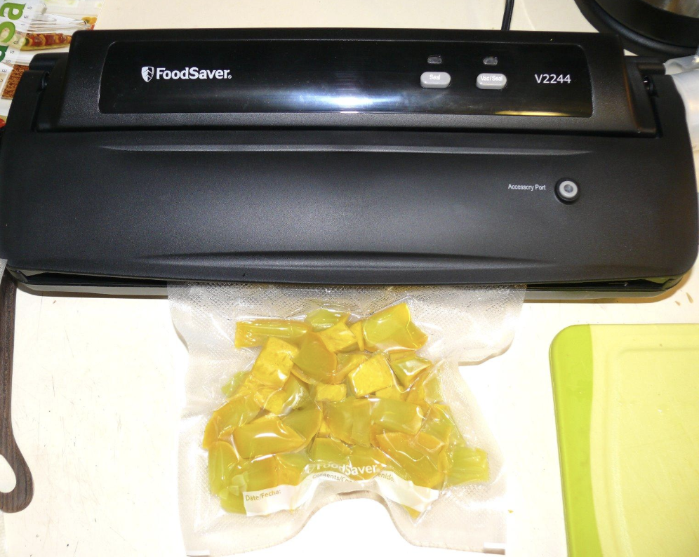 A reviewer image of cut up vegetables vacuum sealed from the appliance