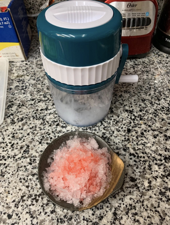 A reviewer image of the crushed ice flavored like a sno cone
