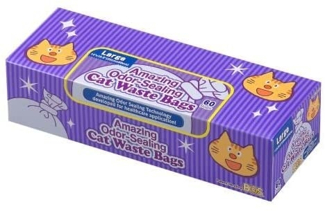 a purple box of cat waste bags