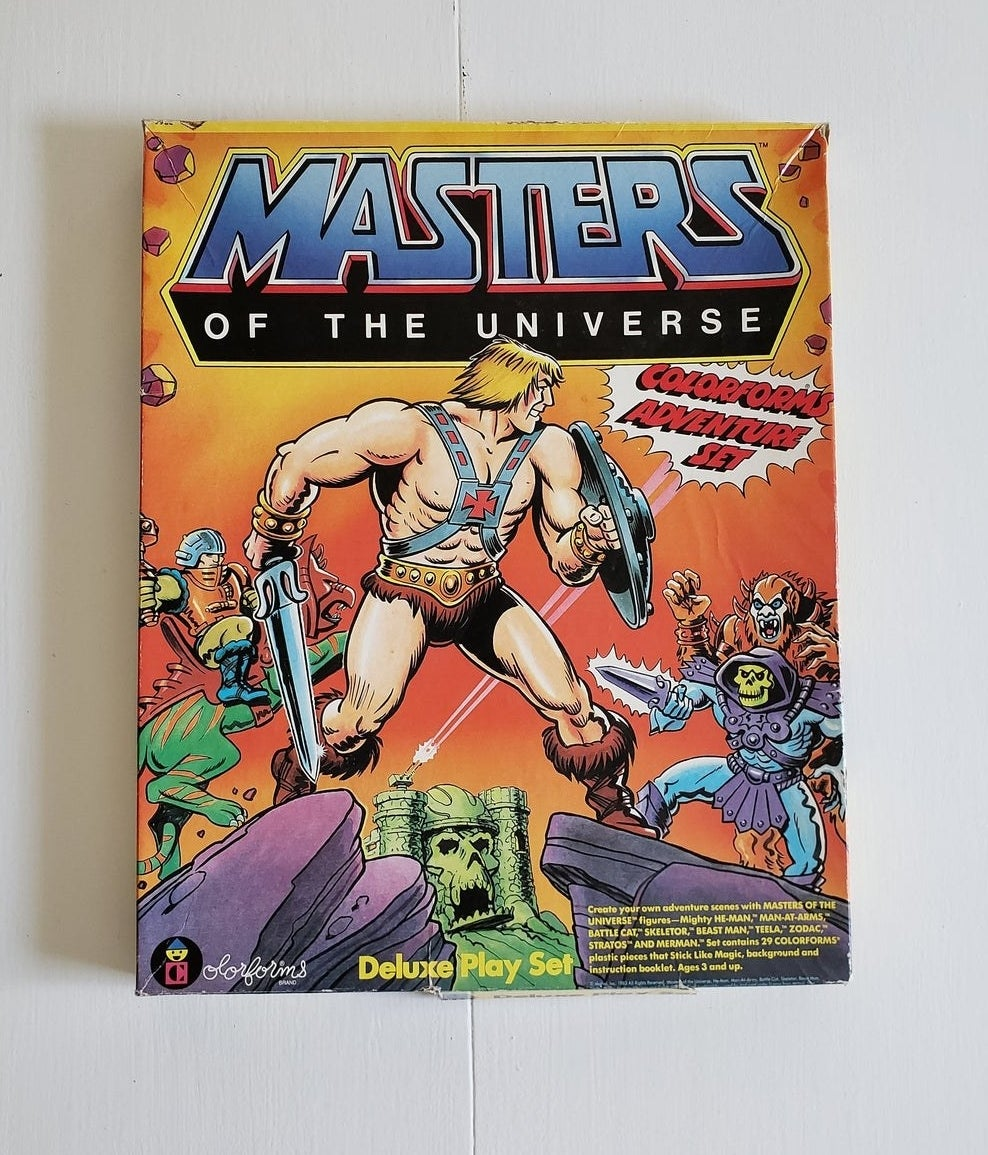 A He-Man and the Masters of the Universe Colorforms box.
