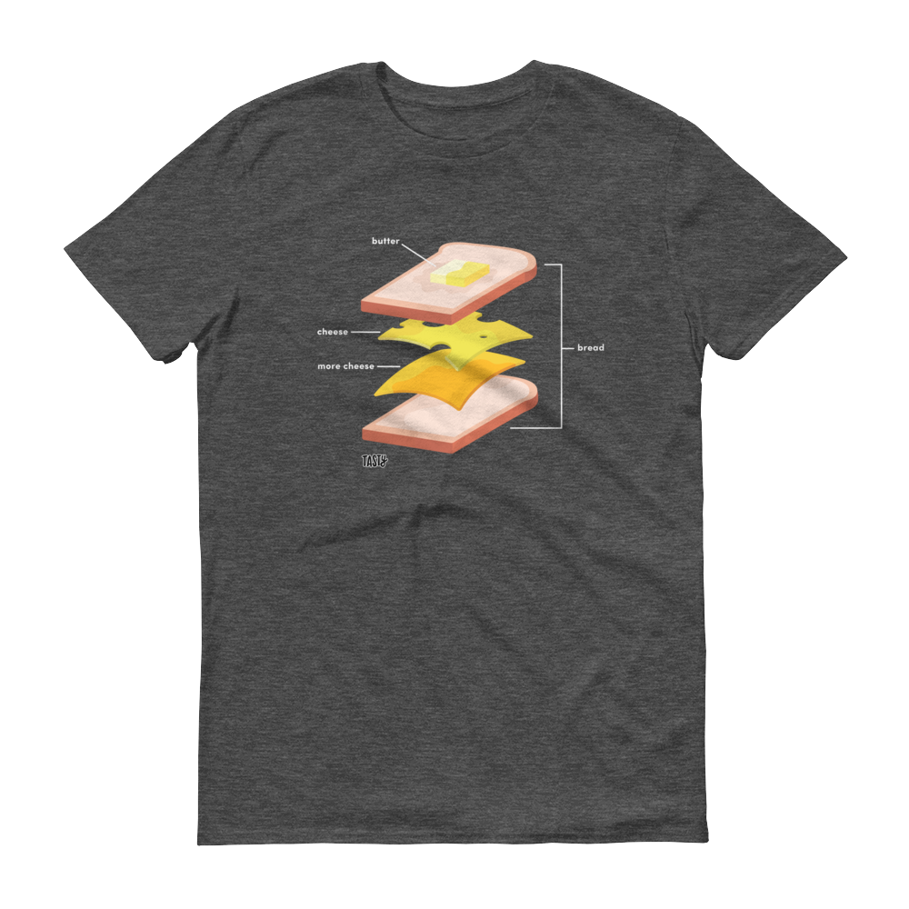 The t-shirt in gray, featuring a diagram of a grilled cheese sandwich