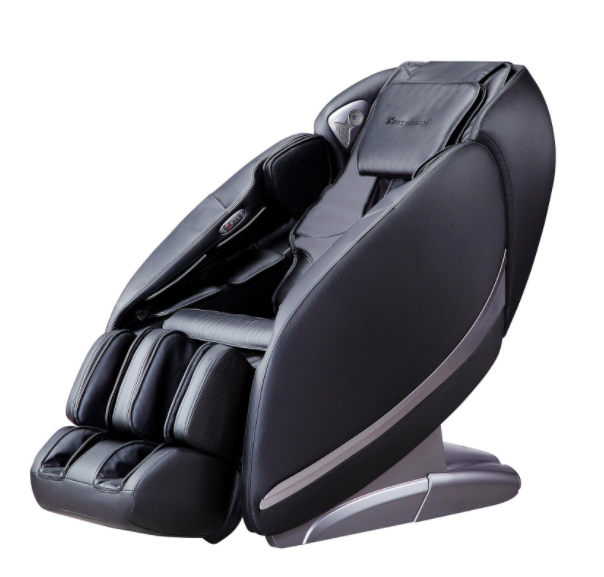 Black massage chair with foot sections and a remote control pouch on the side