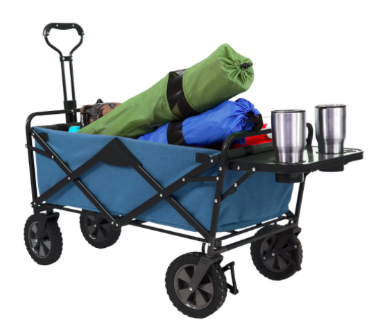 A blue folding wagon with a removable table and a storage compartment