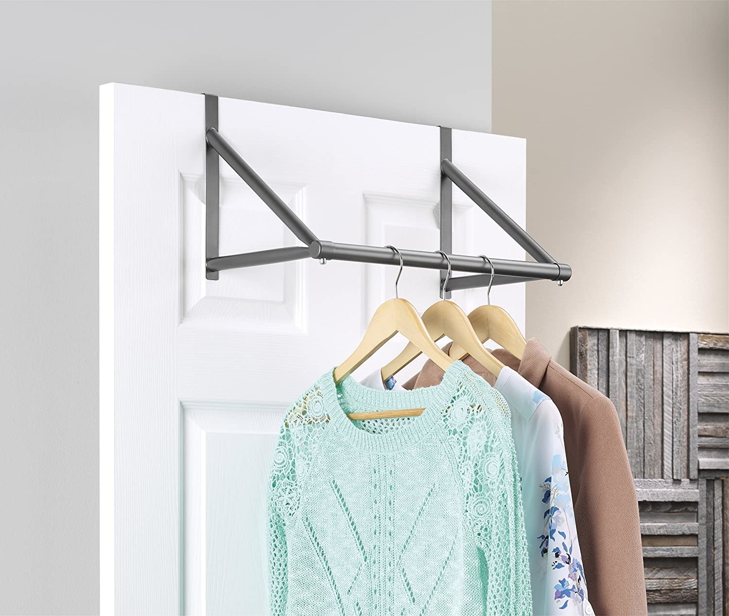 over the door clothing rail on the back of a closet door