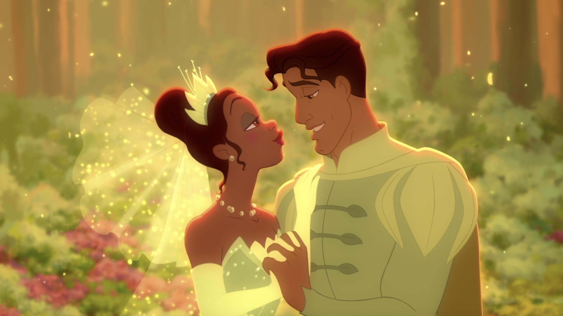 Tiana and Naveen gazing into each other's eyes