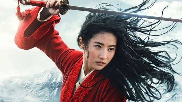 Mulan in a fighting stance. Her sword is raised above her head, ready to strike