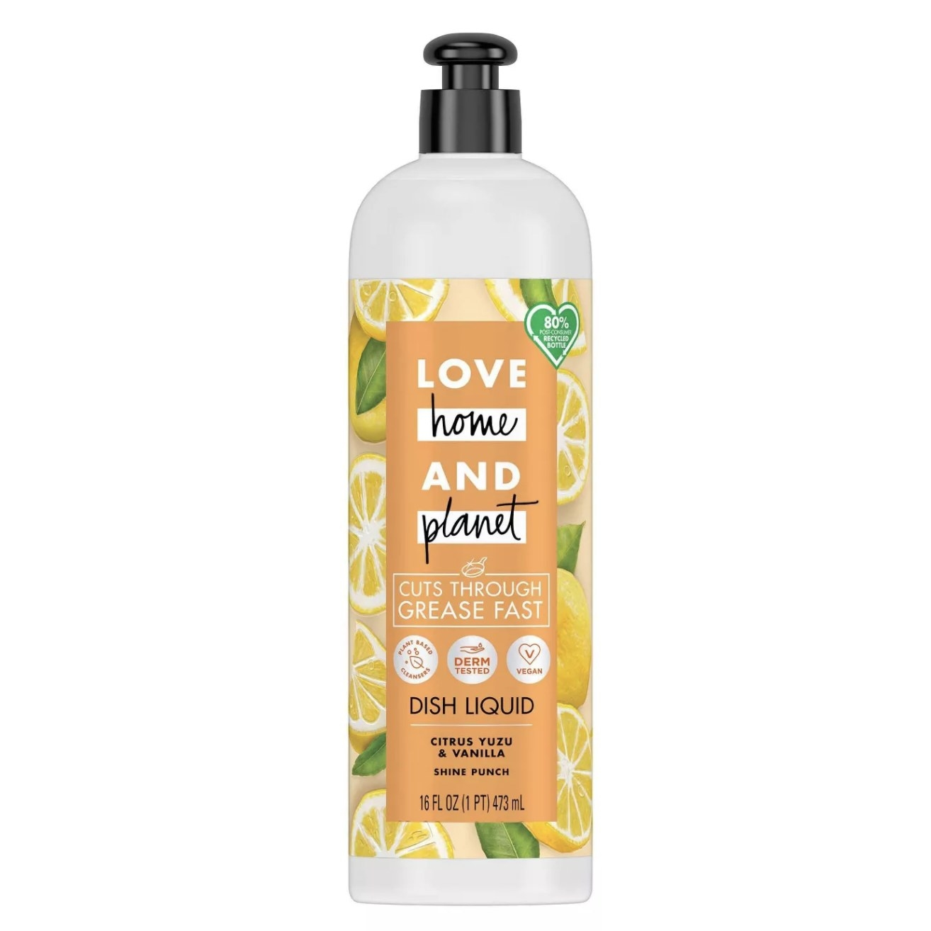 """Clear bottle that says """"Love Home And Planet Dish Liquid"""" with a lemon-print design"""