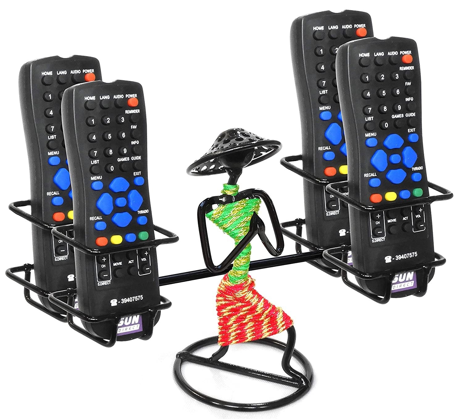 A figure holding remotes as an organiser