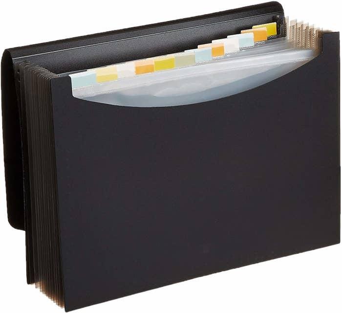 A black expanding folder