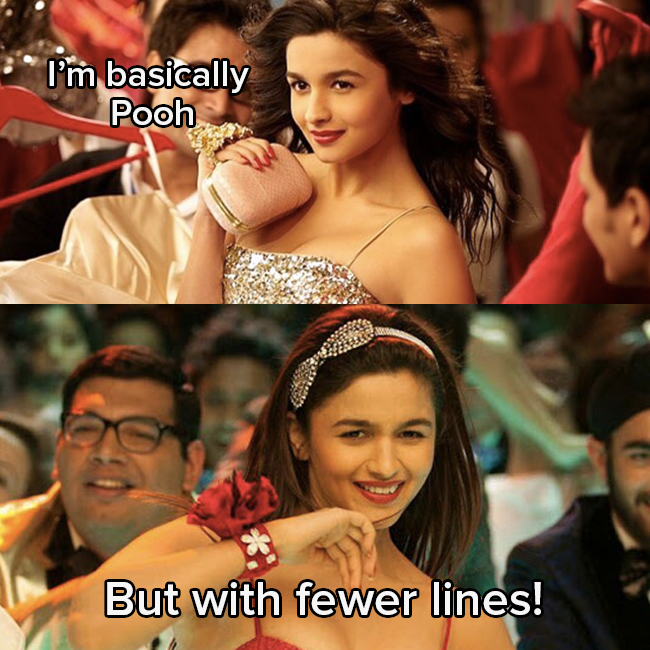 """Alia Bhatt as Shanaya wearing a sequinned dress, with her hair flowing back, says """"I'm basically Pooh"""" and then responds to herself, while smiling: """"But with fewer lines"""""""