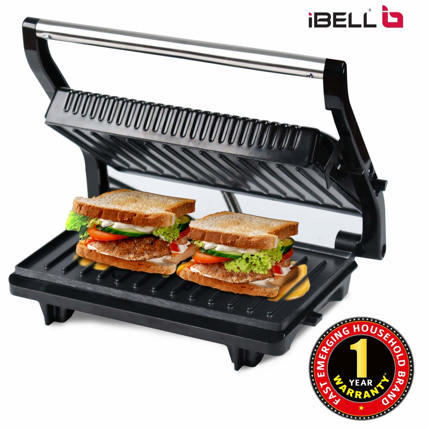 The panini press pictured with two sandwiches in it.